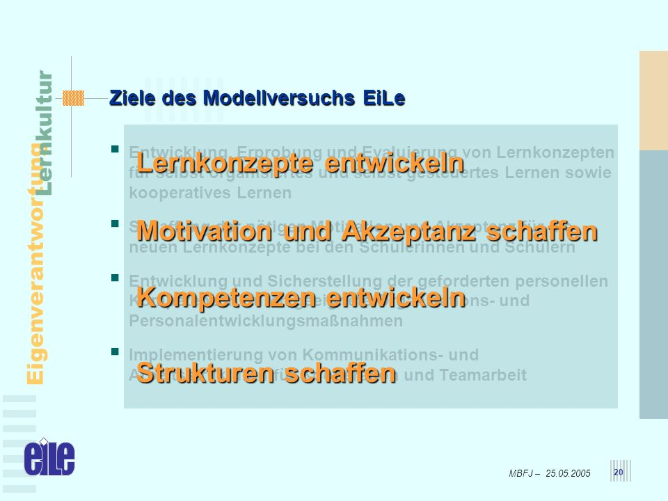 MBFJ – 25.05.2005 Eigenverantwortung Lernkultur 20 Ziele des Modellversuchs EiLe Entwicklung, Erprobung und Evaluierung von Lernkonzepten für selbst o