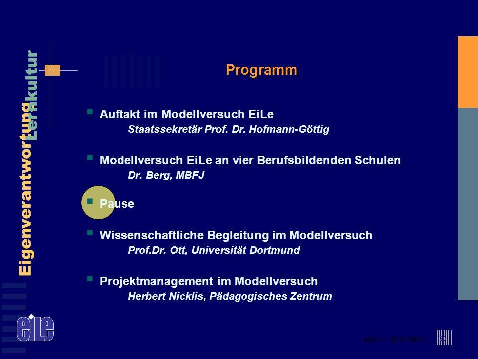 MBFJ – 25.05.2005 Eigenverantwortung Lernkultur MBFJ – 25.05.2005 Eigenverantwortung Lernkultur 25 Programm Auftakt im Modellversuch EiLe Staatssekret