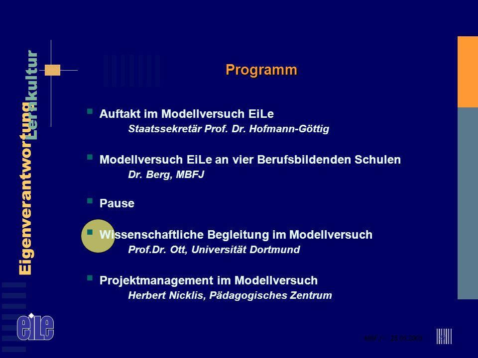 MBFJ – 25.05.2005 Eigenverantwortung Lernkultur MBFJ – 25.05.2005 Eigenverantwortung Lernkultur 27 Programm Auftakt im Modellversuch EiLe Staatssekret