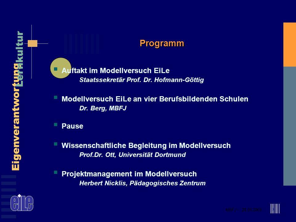 MBFJ – 25.05.2005 Eigenverantwortung Lernkultur MBFJ – 25.05.2005 Eigenverantwortung Lernkultur 3 Programm Auftakt im Modellversuch EiLe Staatssekretär Prof.