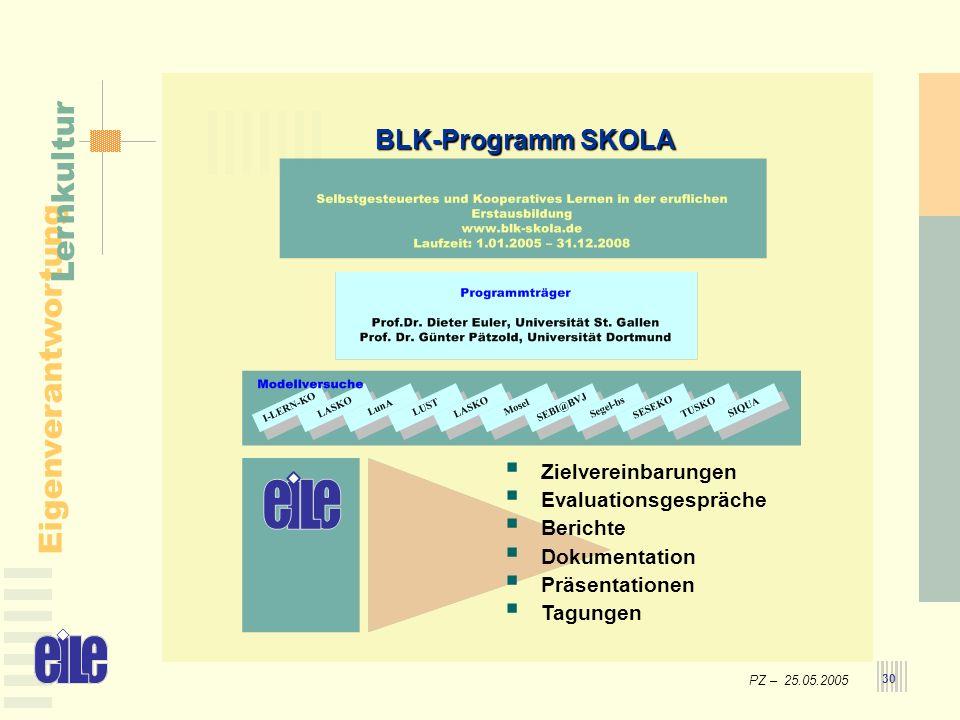 PZ – 25.05.2005 Eigenverantwortung Lernkultur 30 BLK-Programm SKOLA Zielvereinbarungen Evaluationsgespräche Berichte Dokumentation Präsentationen Tagu
