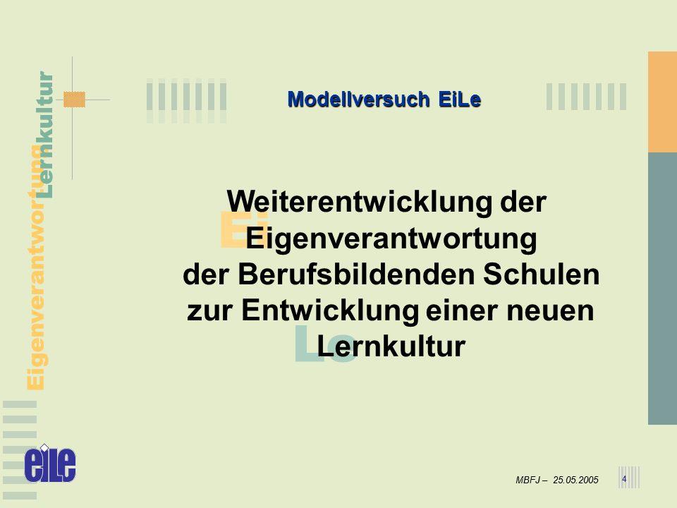 MBFJ – 25.05.2005 Eigenverantwortung Lernkultur MBFJ – 25.05.2005 Eigenverantwortung Lernkultur 4 Ei Le Modellversuch EiLe Weiterentwicklung der Eigen