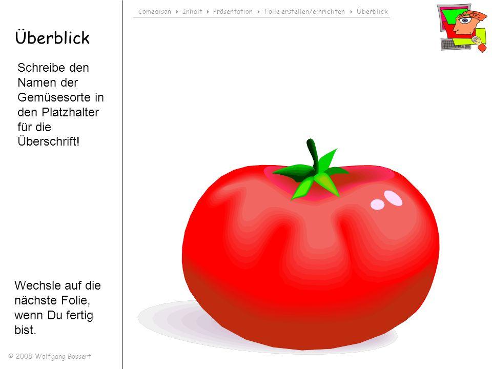 Comedison Inhalt Präsentation Folie erstellen/einrichten Überblick © 2008 Wolfgang Bossert Überblick Schreibe den Namen der Gemüsesorte in den Platzha