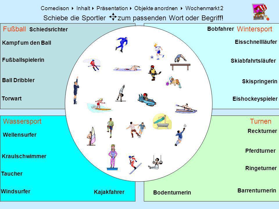 Comedison Inhalt Präsentation Objekte anordnen Wochenmarkt 2 Fußball Turnen Wintersport Wassersport Schiedsrichter Torwart Fußballspielerin Ball Dribb