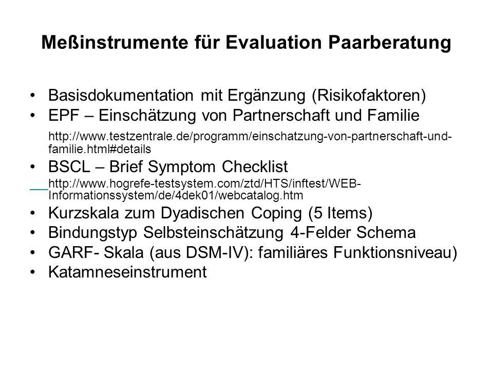 Meßinstrumente für Evaluation Paarberatung Basisdokumentation mit Ergänzung (Risikofaktoren) EPF – Einschätzung von Partnerschaft und Familie http://w