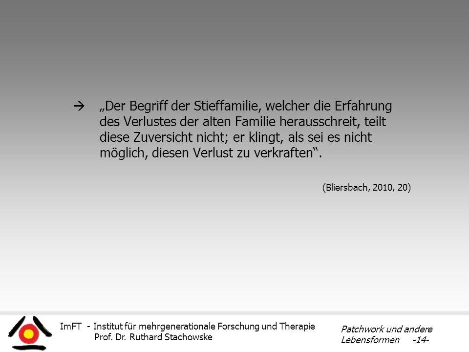 ImFT - Institut für mehrgenerationale Forschung und Therapie Prof. Dr. Ruthard Stachowske Patchwork und andere Lebensformen -14- Der Begriff der Stief