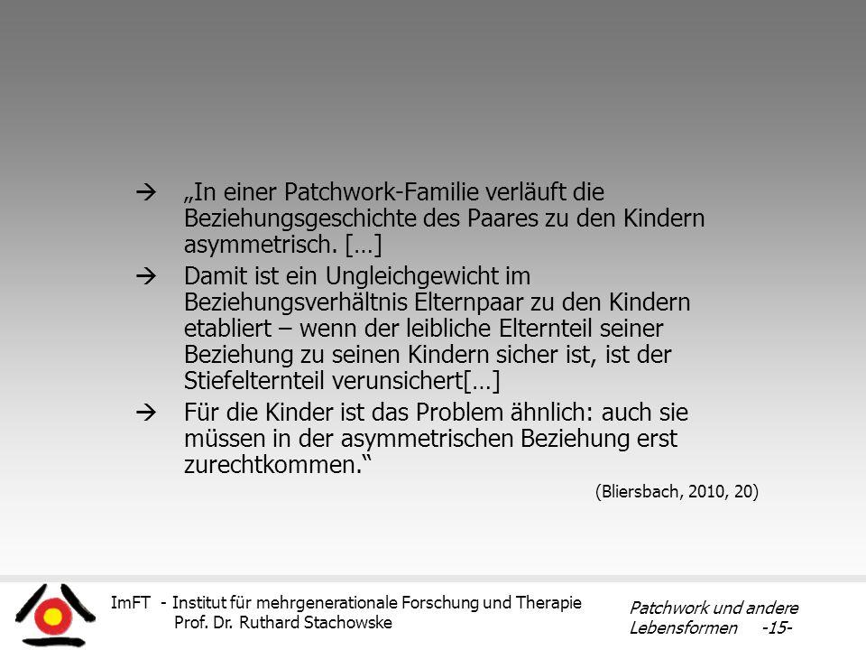 ImFT - Institut für mehrgenerationale Forschung und Therapie Prof. Dr. Ruthard Stachowske Patchwork und andere Lebensformen -15- In einer Patchwork-Fa