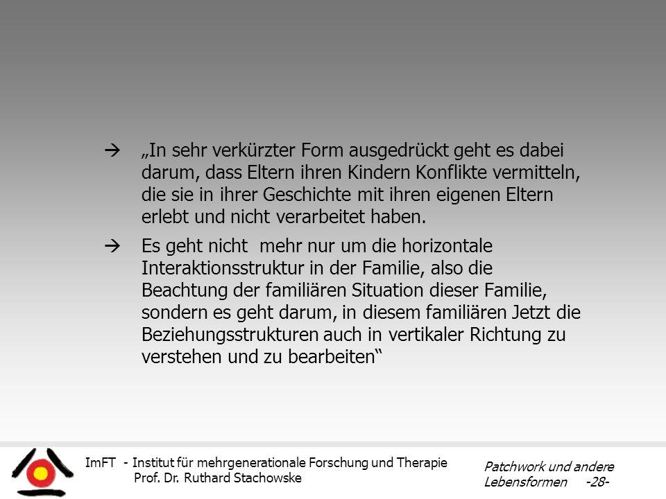 ImFT - Institut für mehrgenerationale Forschung und Therapie Prof. Dr. Ruthard Stachowske Patchwork und andere Lebensformen -28- In sehr verkürzter Fo