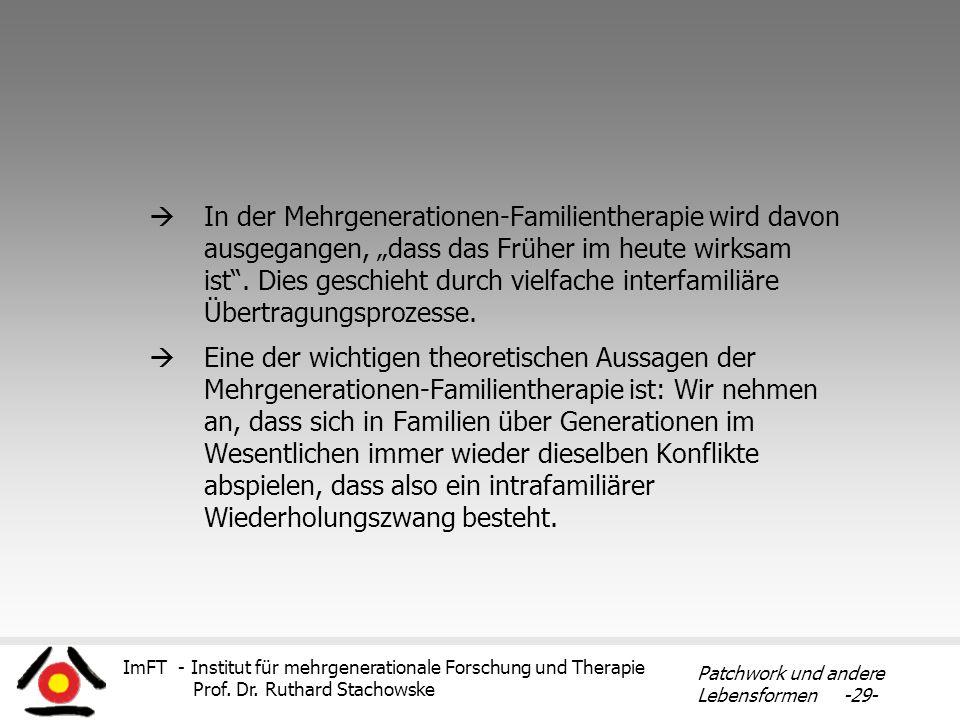 ImFT - Institut für mehrgenerationale Forschung und Therapie Prof. Dr. Ruthard Stachowske Patchwork und andere Lebensformen -29- In der Mehrgeneration