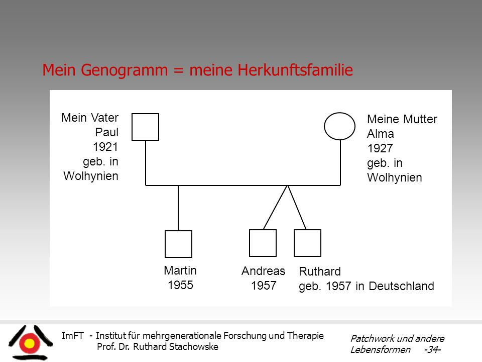 ImFT - Institut für mehrgenerationale Forschung und Therapie Prof. Dr. Ruthard Stachowske Patchwork und andere Lebensformen -34- Mein Genogramm = mein
