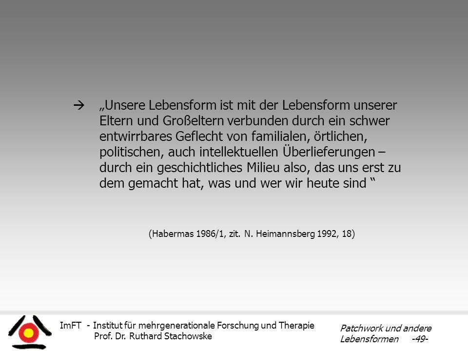 ImFT - Institut für mehrgenerationale Forschung und Therapie Prof. Dr. Ruthard Stachowske Patchwork und andere Lebensformen -49- Unsere Lebensform ist