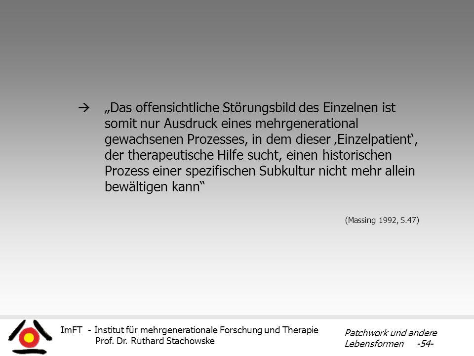 ImFT - Institut für mehrgenerationale Forschung und Therapie Prof. Dr. Ruthard Stachowske Patchwork und andere Lebensformen -54- Das offensichtliche S