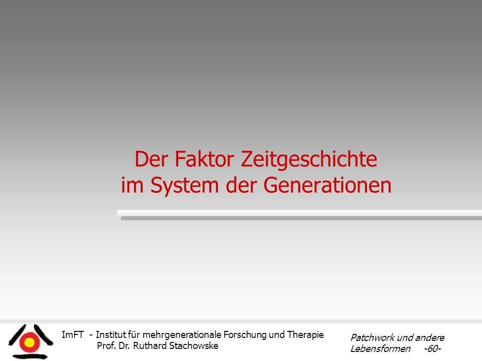 ImFT - Institut für mehrgenerationale Forschung und Therapie Prof. Dr. Ruthard Stachowske Patchwork und andere Lebensformen -60- Der Faktor Zeitgeschi