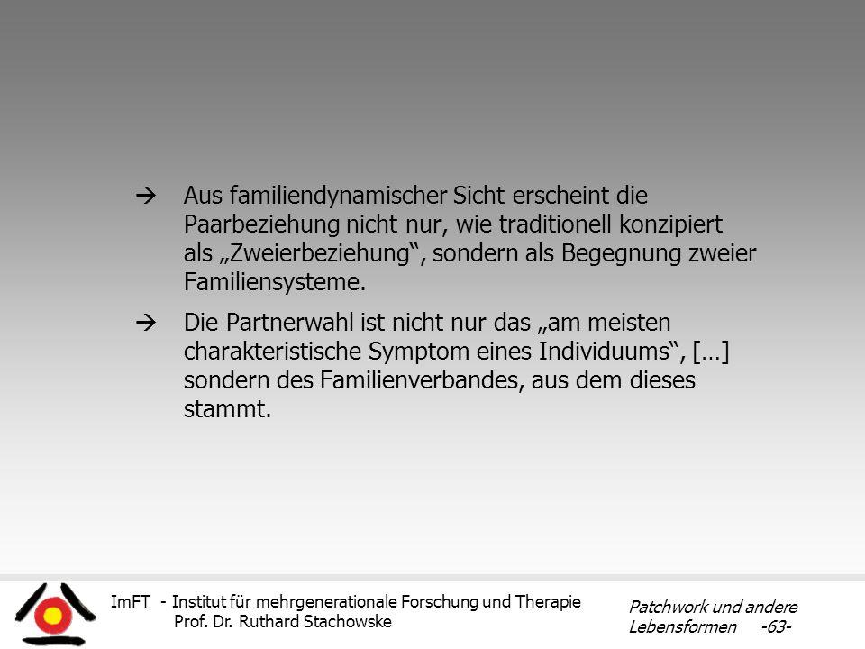 ImFT - Institut für mehrgenerationale Forschung und Therapie Prof. Dr. Ruthard Stachowske Patchwork und andere Lebensformen -63- Aus familiendynamisch