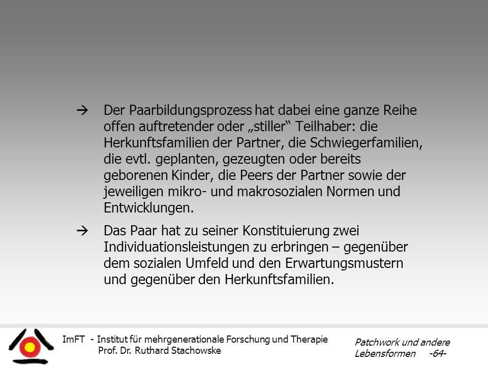 ImFT - Institut für mehrgenerationale Forschung und Therapie Prof. Dr. Ruthard Stachowske Patchwork und andere Lebensformen -64- Der Paarbildungsproze