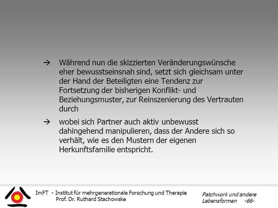 ImFT - Institut für mehrgenerationale Forschung und Therapie Prof. Dr. Ruthard Stachowske Patchwork und andere Lebensformen -66- Während nun die skizz