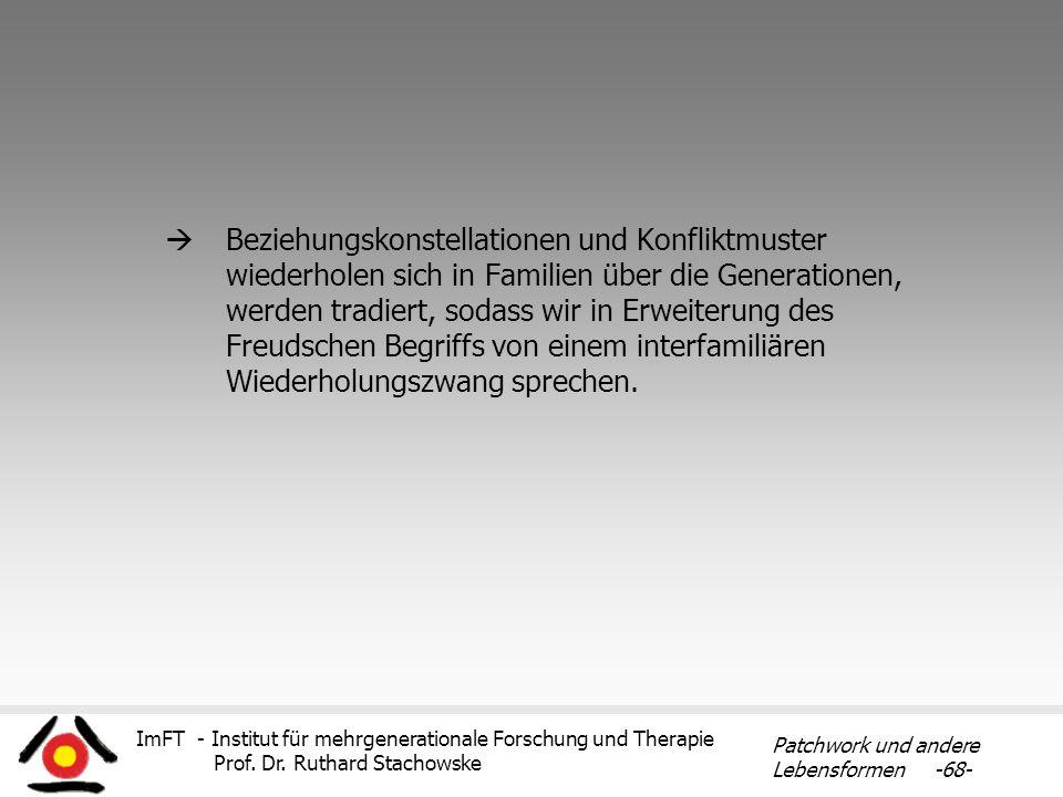 ImFT - Institut für mehrgenerationale Forschung und Therapie Prof. Dr. Ruthard Stachowske Patchwork und andere Lebensformen -68- Beziehungskonstellati