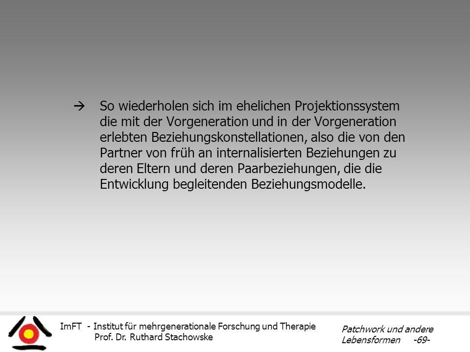 ImFT - Institut für mehrgenerationale Forschung und Therapie Prof. Dr. Ruthard Stachowske Patchwork und andere Lebensformen -69- So wiederholen sich i