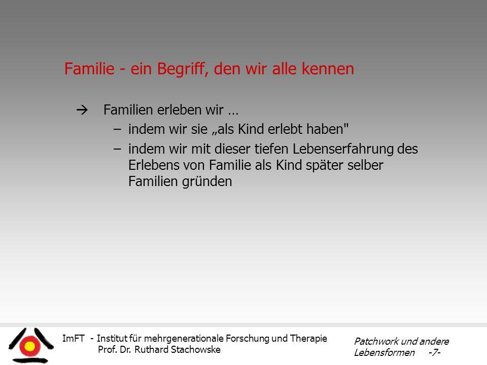 ImFT - Institut für mehrgenerationale Forschung und Therapie Prof. Dr. Ruthard Stachowske Patchwork und andere Lebensformen -7- Familie - ein Begriff,