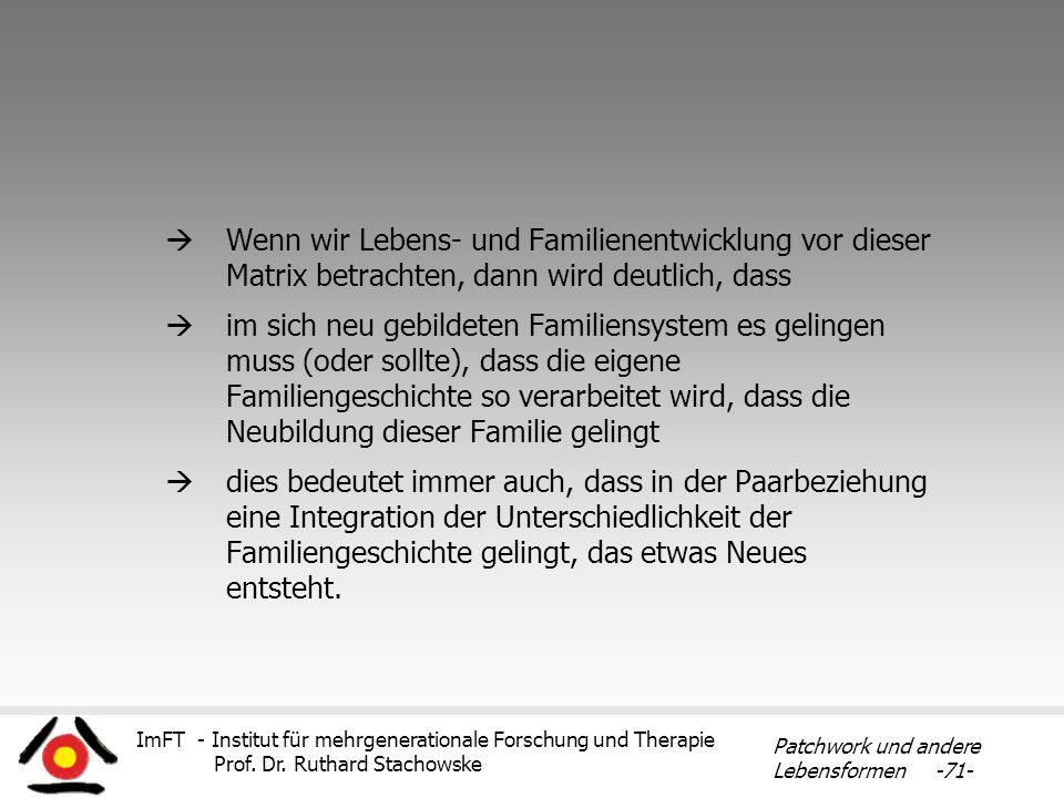 ImFT - Institut für mehrgenerationale Forschung und Therapie Prof. Dr. Ruthard Stachowske Patchwork und andere Lebensformen -71- Wenn wir Lebens- und