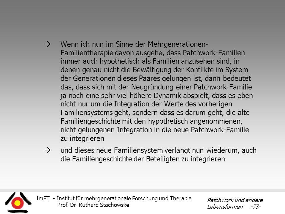 ImFT - Institut für mehrgenerationale Forschung und Therapie Prof. Dr. Ruthard Stachowske Patchwork und andere Lebensformen -73- Wenn ich nun im Sinne