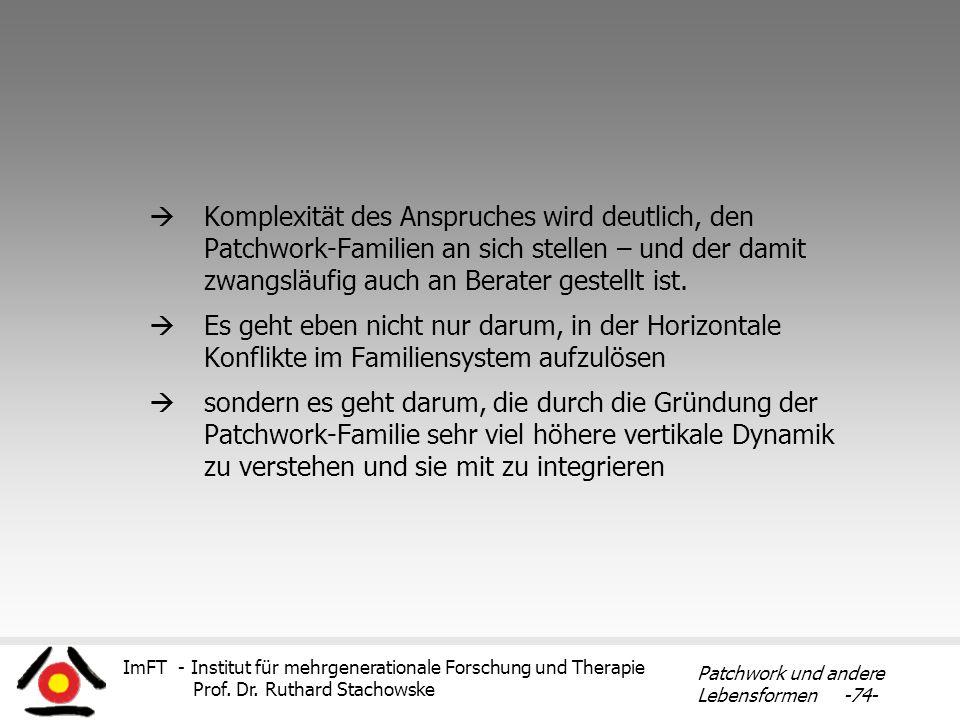 ImFT - Institut für mehrgenerationale Forschung und Therapie Prof. Dr. Ruthard Stachowske Patchwork und andere Lebensformen -74- Komplexität des Anspr