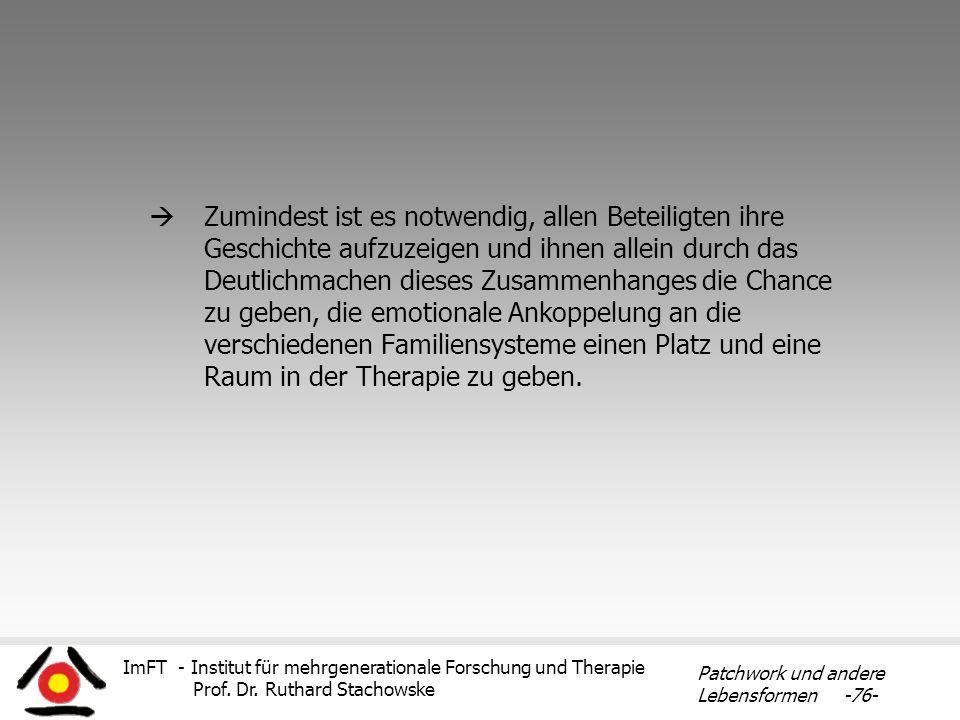 ImFT - Institut für mehrgenerationale Forschung und Therapie Prof. Dr. Ruthard Stachowske Patchwork und andere Lebensformen -76- Zumindest ist es notw
