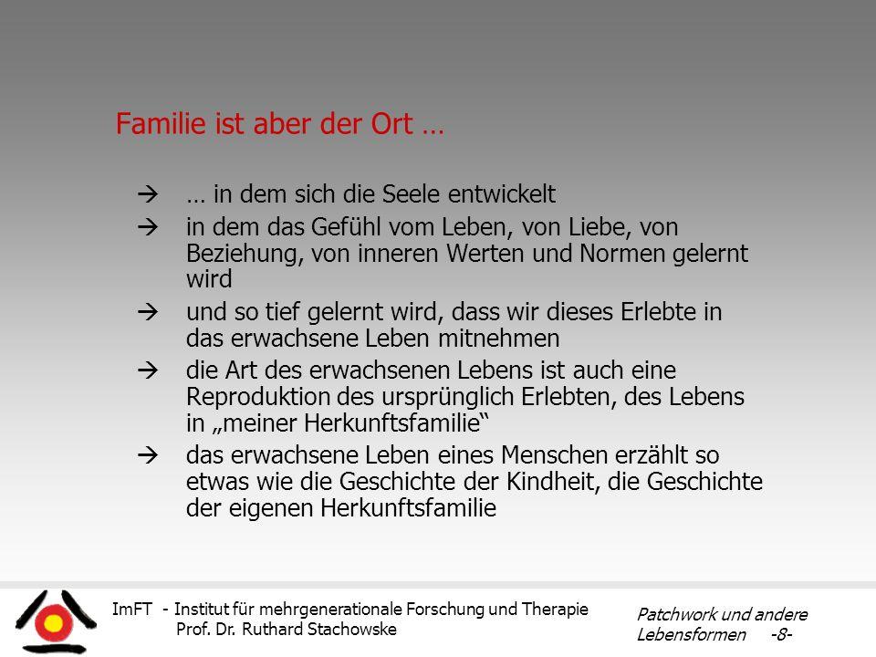 ImFT - Institut für mehrgenerationale Forschung und Therapie Prof. Dr. Ruthard Stachowske Patchwork und andere Lebensformen -8- Familie ist aber der O