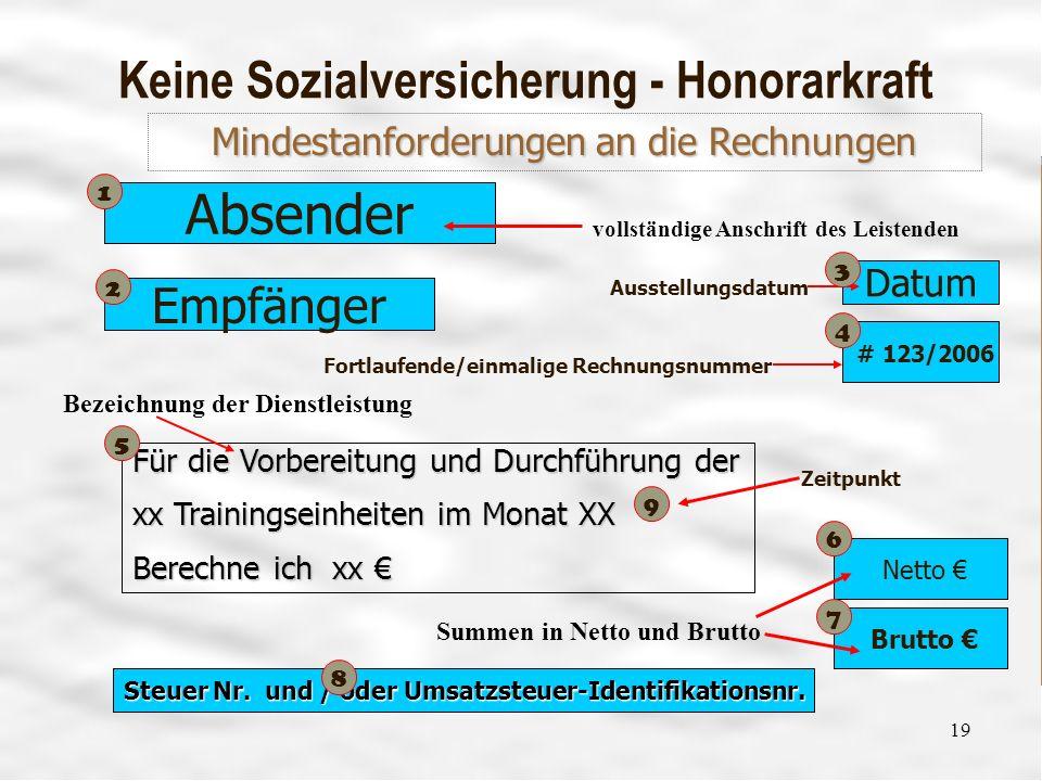 Vereinsführung 16 19 Keine Sozialversicherung - Honorarkraft Absender Datum # 123/2006 Fortlaufende/einmalige Rechnungsnummer Ausstellungsdatum vollst