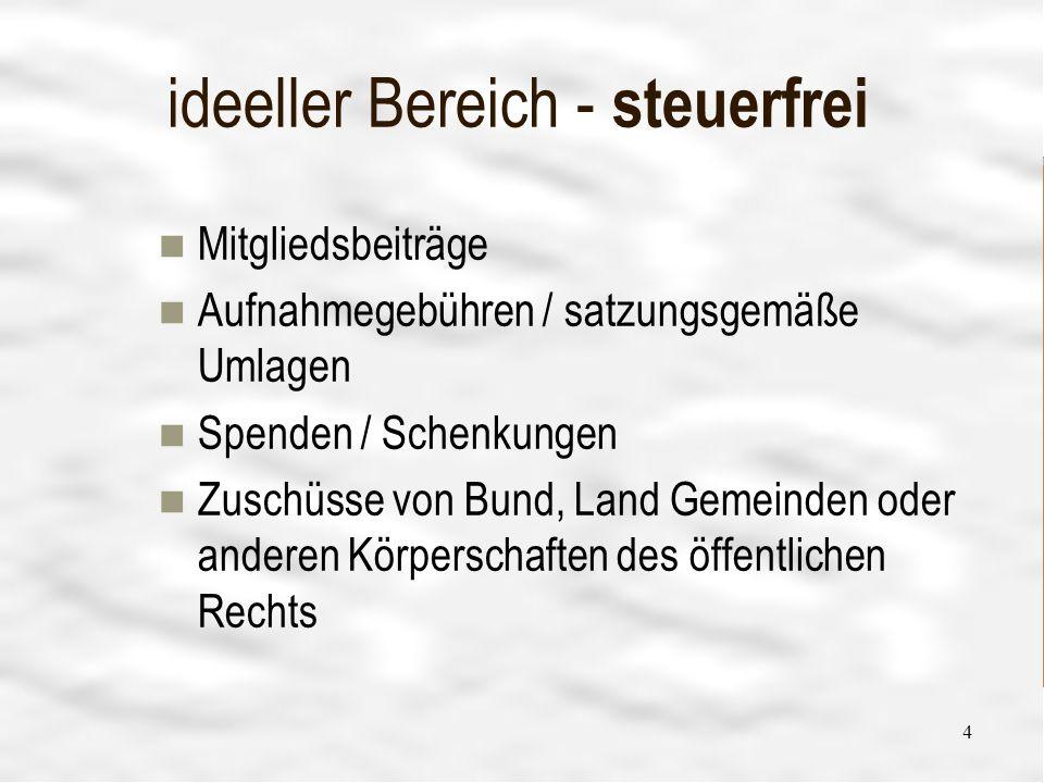 Vereinsführung 4 4 ideeller Bereich - steuerfrei Mitgliedsbeiträge Aufnahmegebühren / satzungsgemäße Umlagen Spenden / Schenkungen Zuschüsse von Bund,
