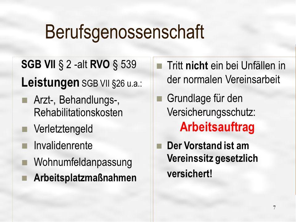 Vereinsführung 20 13 Versicherungsbedarf-Haftpflicht X- Vermietung - Garten/Geräte39 X- Vermarktung eigener Produkte38 X- Verleih von Geräten37 XX Verkehrssicherung36 X- Vereinsheime35 X- Vereinsgaststätte34 XX vereinsfremde Personen33 XX Veranstaltungsplatz32 XX Veranstaltungsgebäude31 2 Mio€ Personen- 1 Mio€ Sach-, 100.000 € Vermögens- schäden PAX Köln 512.000 € pauschal für Personen- und Sachschäden ankreuzen welche Vers.