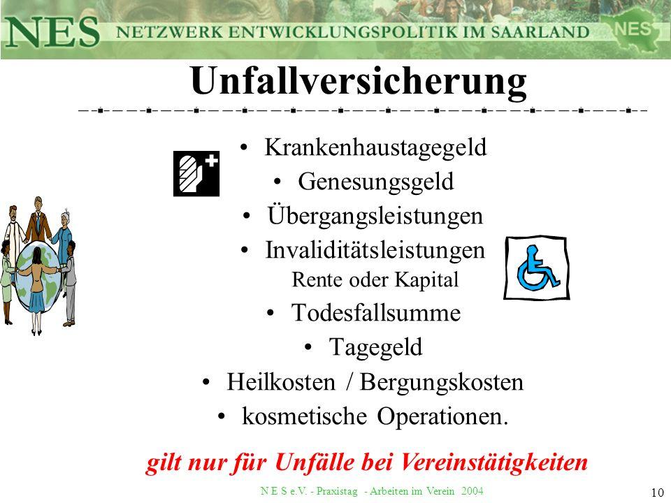 N E S e.V. - Praxistag - Arbeiten im Verein 2004 10 Unfallversicherung Krankenhaustagegeld Genesungsgeld Übergangsleistungen Invaliditätsleistungen Re