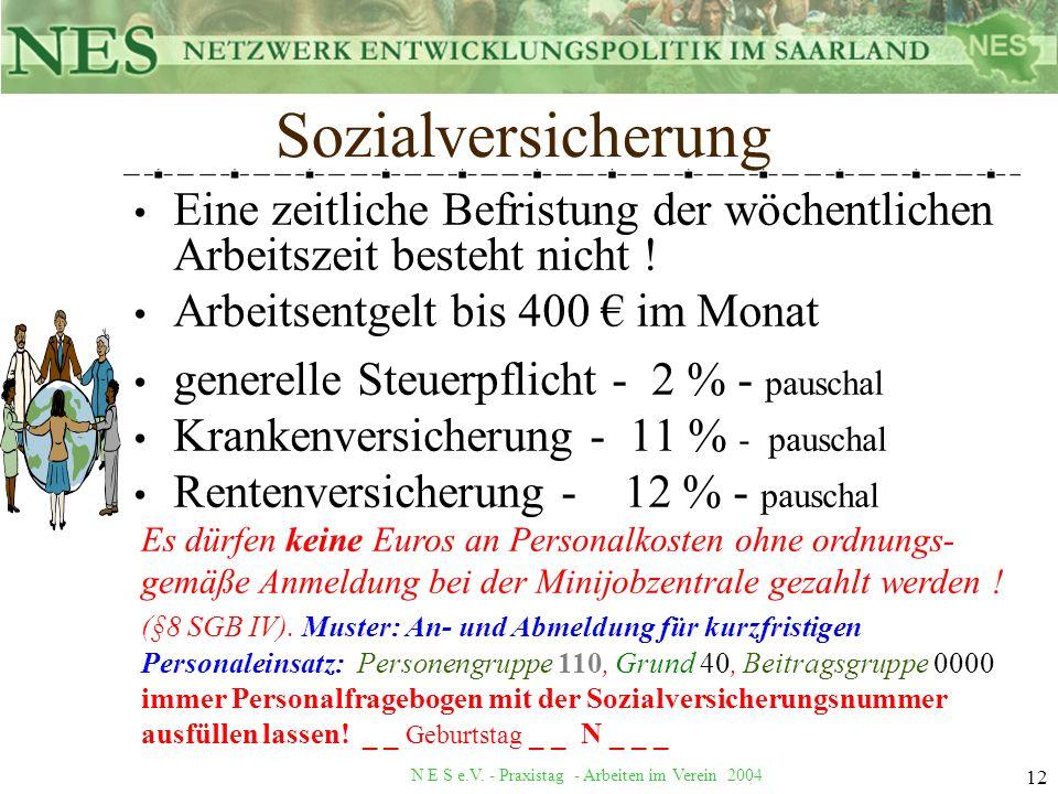 N E S e.V. - Praxistag - Arbeiten im Verein 2004 12 Eine zeitliche Befristung der wöchentlichen Arbeitszeit besteht nicht ! Arbeitsentgelt bis 400 im