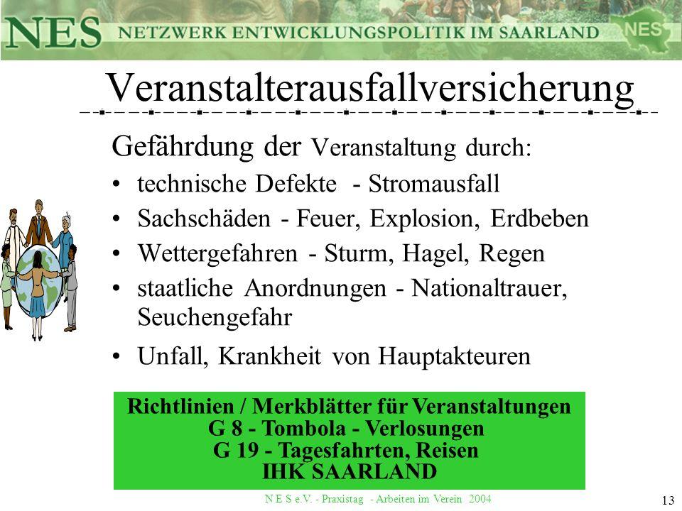 N E S e.V. - Praxistag - Arbeiten im Verein 2004 13 Veranstalterausfallversicherung Gefährdung der Veranstaltung durch: technische Defekte - Stromausf