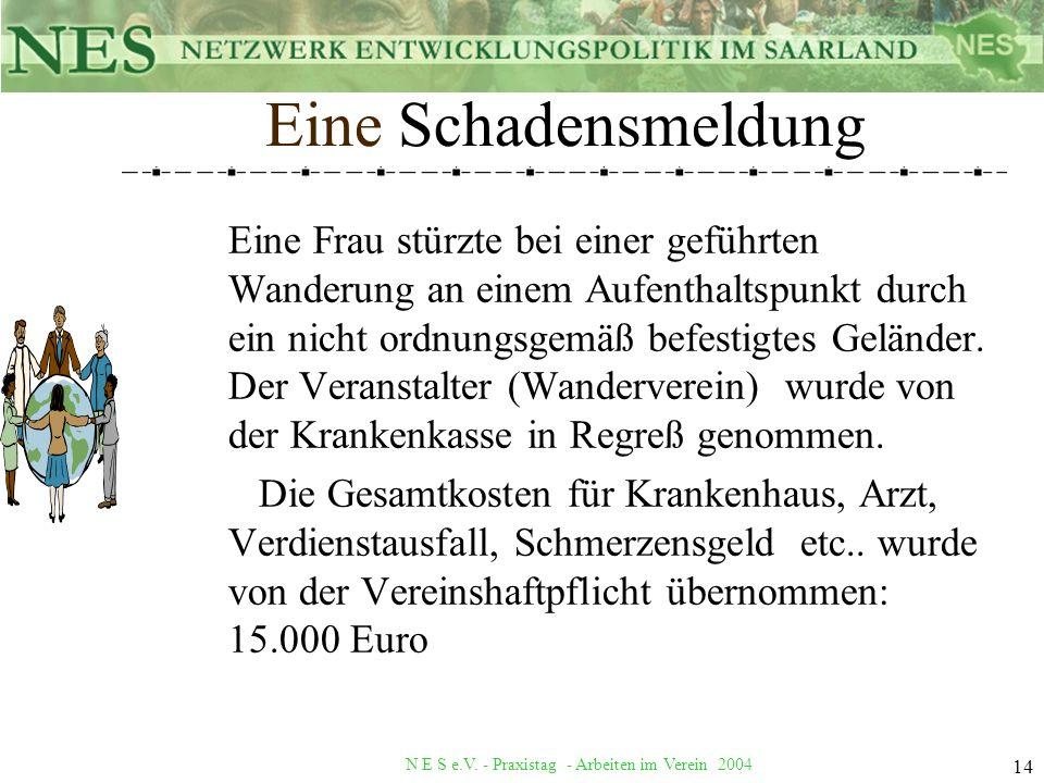 N E S e.V. - Praxistag - Arbeiten im Verein 2004 14 Eine Schadensmeldung Eine Frau stürzte bei einer geführten Wanderung an einem Aufenthaltspunkt dur