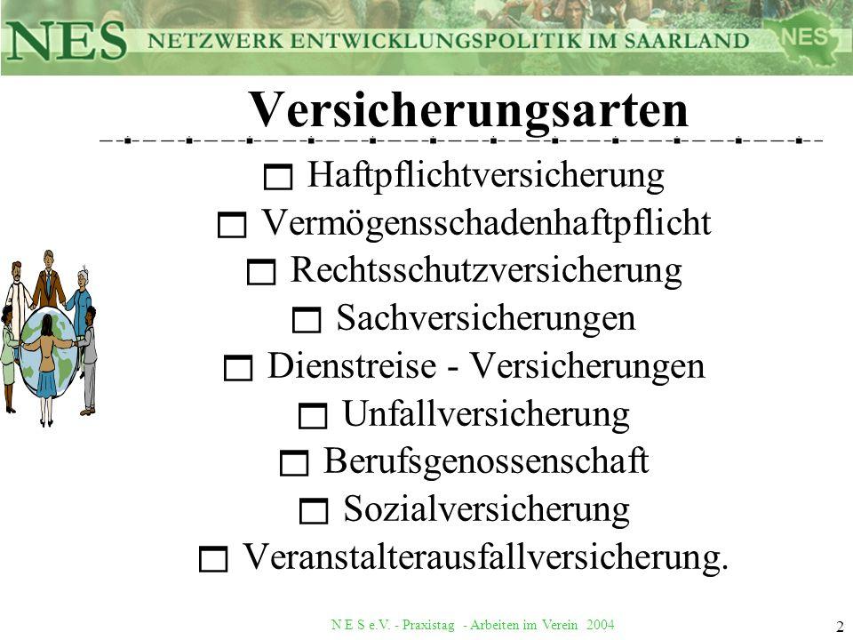 N E S e.V. - Praxistag - Arbeiten im Verein 2004 2 Versicherungsarten Haftpflichtversicherung Vermögensschadenhaftpflicht Rechtsschutzversicherung Sac