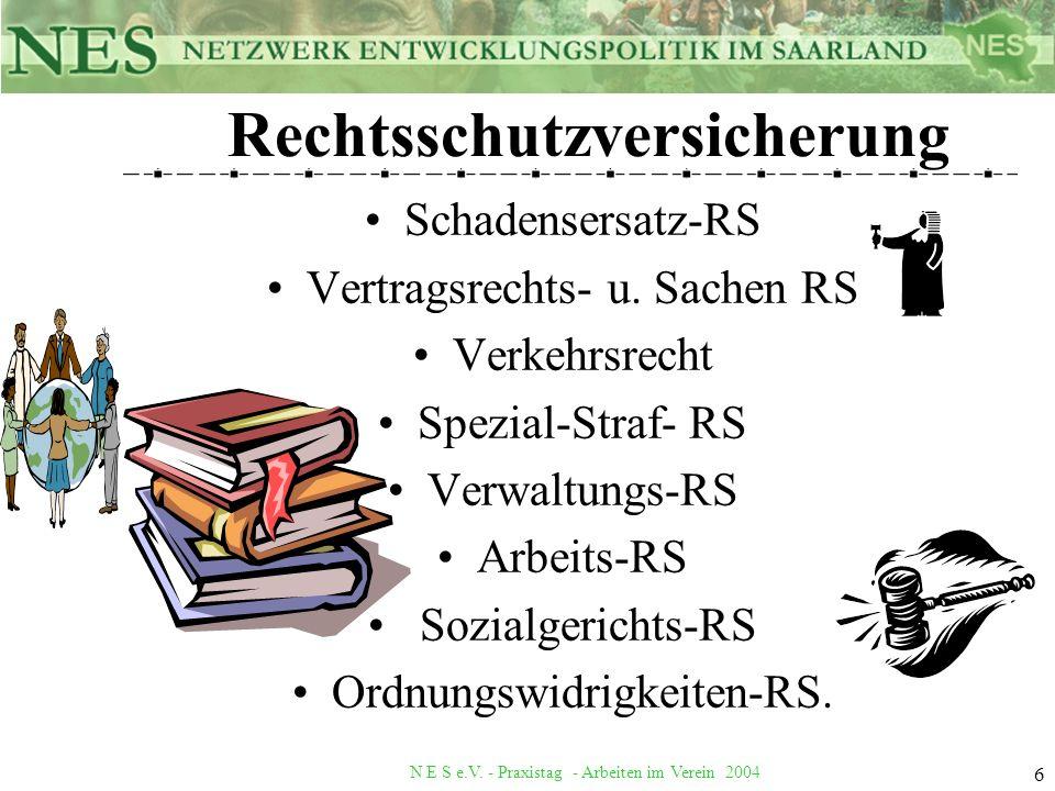 N E S e.V. - Praxistag - Arbeiten im Verein 2004 6 Rechtsschutzversicherung Schadensersatz-RS Vertragsrechts- u. Sachen RS Verkehrsrecht Spezial-Straf