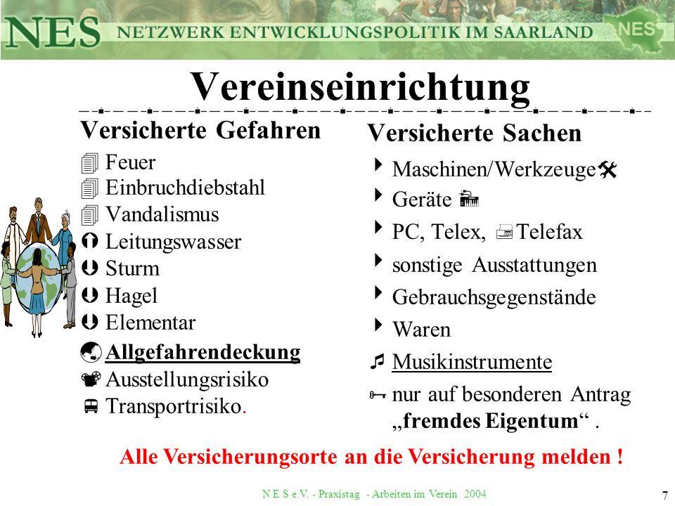 N E S e.V. - Praxistag - Arbeiten im Verein 2004 7 Vereinseinrichtung Versicherte Gefahren 4Feuer 4Einbruchdiebstahl 4Vandalismus ÝLeitungswasser ÞStu