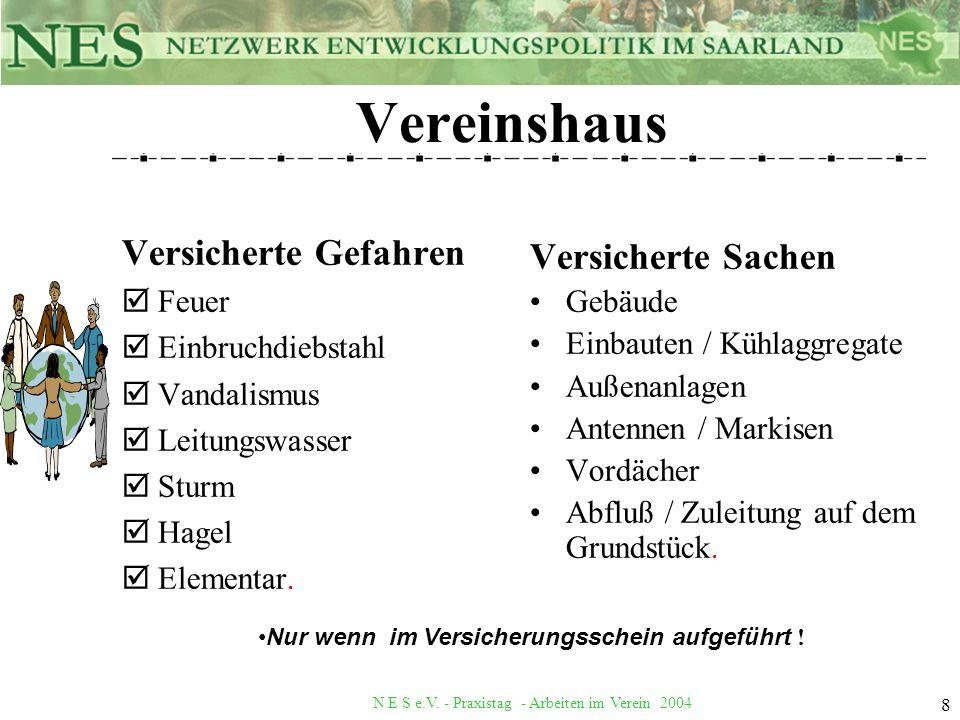 N E S e.V. - Praxistag - Arbeiten im Verein 2004 8 Vereinshaus Versicherte Gefahren þFeuer þEinbruchdiebstahl þVandalismus þLeitungswasser þSturm þHag