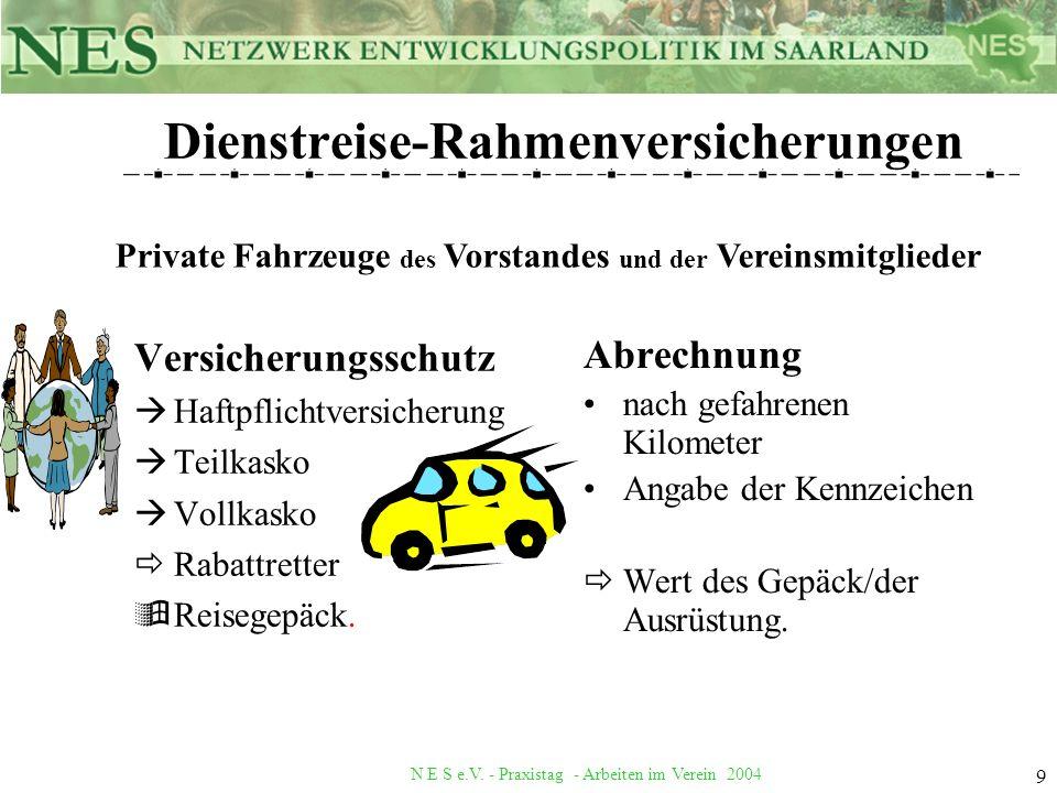 N E S e.V. - Praxistag - Arbeiten im Verein 2004 9 Dienstreise-Rahmenversicherungen Versicherungsschutz àHaftpflichtversicherung àTeilkasko àVollkasko