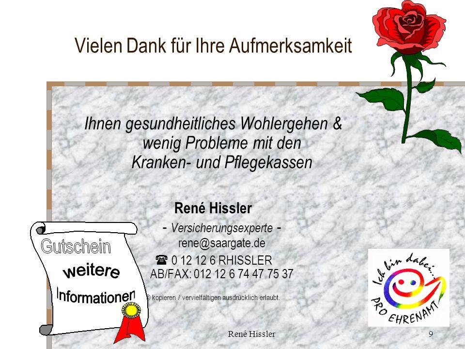 René Hissler9 Vielen Dank für Ihre Aufmerksamkeit Ihnen gesundheitliches Wohlergehen & wenig Probleme mit den Kranken- und Pflegekassen René Hissler - Versicherungsexperte - rene@saargate.de 0 12 12 6 RHISSLER AB/FAX: 012 12 6 74 47 75 37 © kopieren / vervielfältigen ausdrücklich erlaubt.