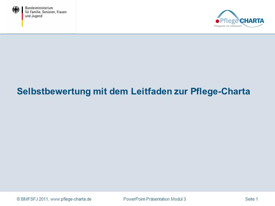 © BMFSFJ 2011, www.pflege-charta.dePowerPoint-Präsentation Modul 3 Dauer der Präsentation Ca.