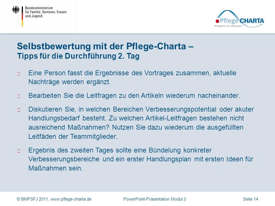 © BMFSFJ 2011, www.pflege-charta.dePowerPoint-Präsentation Modul 3 Bearbeiten Sie die Leitfragen zu den Artikeln nacheinander oder legen Sie fest, welche Sie bearbeiten werden.