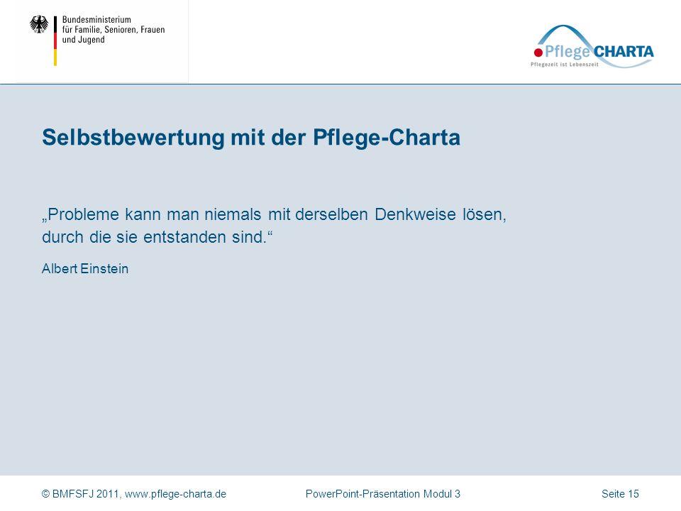 © BMFSFJ 2011, www.pflege-charta.dePowerPoint-Präsentation Modul 3 Eine Person fasst die Ergebnisse des Vortrages zusammen, aktuelle Nachträge werden ergänzt.