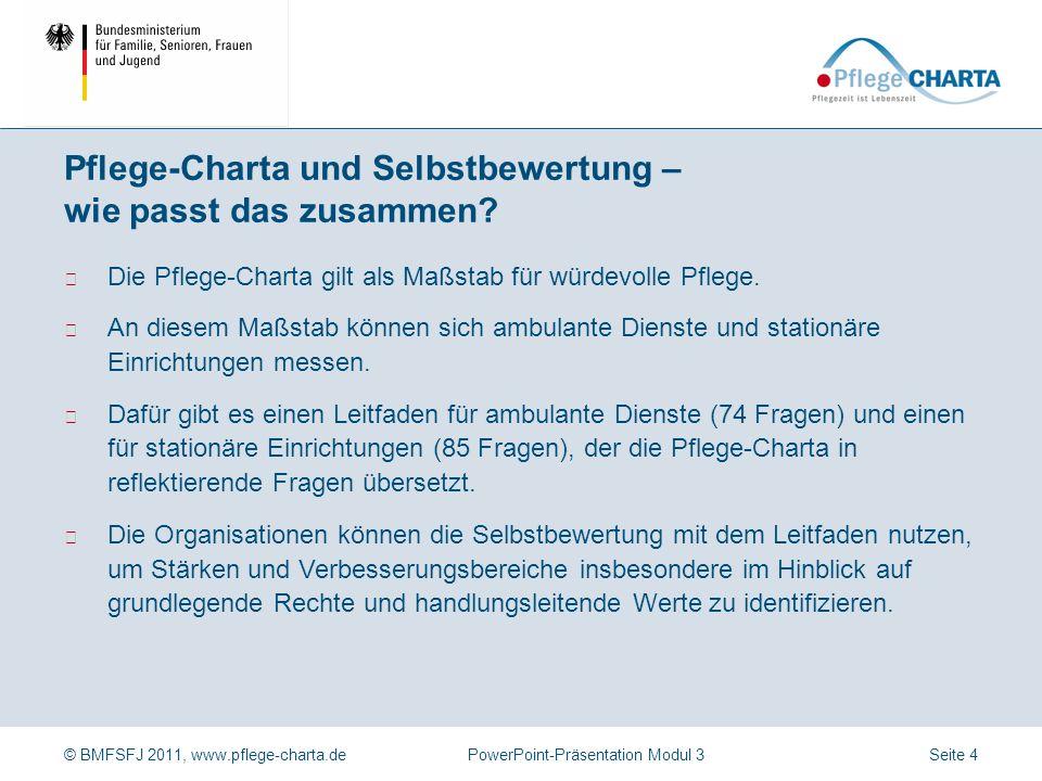© BMFSFJ 2011, www.pflege-charta.dePowerPoint-Präsentation Modul 3 Knon, D., Groß, H.