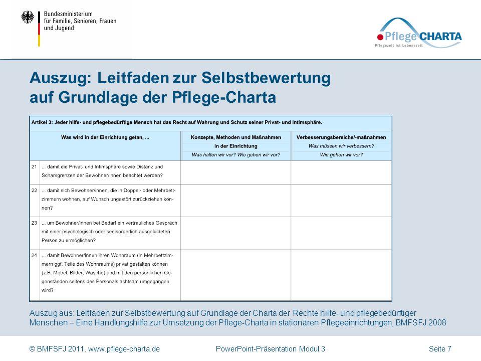 © BMFSFJ 2011, www.pflege-charta.dePowerPoint-Präsentation Modul 3 Mithilfe des Leitfadens (ambulant/stationär) wird organisationsintern reflektiert, wie die Artikel der Pflege-Charta umgesetzt werden, wo Stärken und Verbesserungspotentiale bestehen.