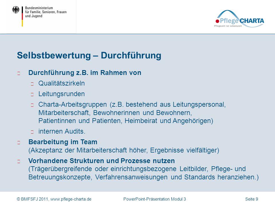 © BMFSFJ 2011, www.pflege-charta.dePowerPoint-Präsentation Modul 3 Wie werden die Privat- und Intimsphäre sowie Distanz- und Schamgrenzen der Bewohnerinnen und Bewohner gewahrt.
