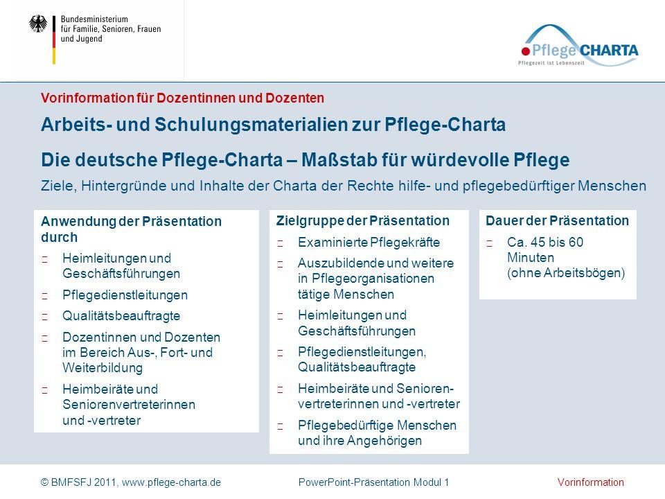 © BMFSFJ 2011, www.pflege-charta.dePowerPoint-Präsentation Modul 1 Dauer der Präsentation Ca.