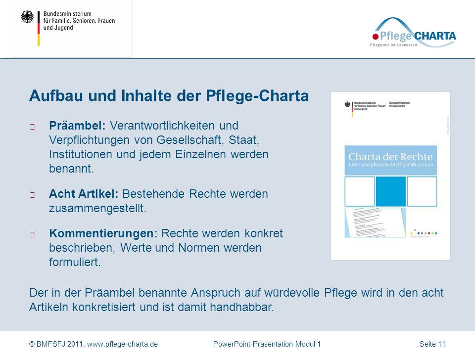 © BMFSFJ 2011, www.pflege-charta.dePowerPoint-Präsentation Modul 1 Pflegebedürftige Menschen Angehörige bzw. Nahestehende Ehrenamtliche Pflegende Ther