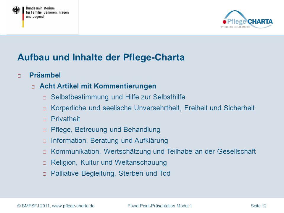 © BMFSFJ 2011, www.pflege-charta.dePowerPoint-Präsentation Modul 1 Der in der Präambel benannte Anspruch auf würdevolle Pflege wird in den acht Artike